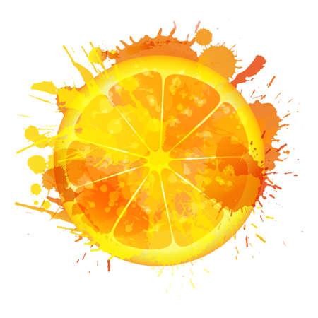 Orange slice made of colorful splashes on white background
