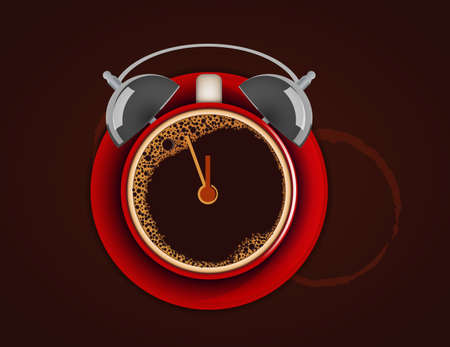 Cup of coffe with alarm clock  Wake up  Time for coffee  Vector