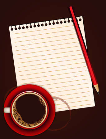 Red cup of coffee, blank note paper and pencil Vector