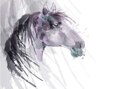 aquarel: Horse head watercolor painting