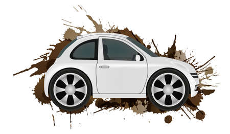 Car wash concept. Clean car in front of dirt splashes. Vector