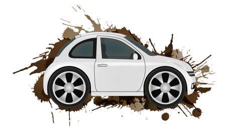 smallest: Car wash concept. Clean car in front of dirt splashes. Illustration