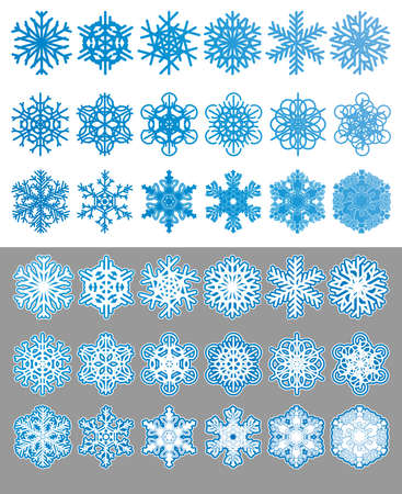 snow crystals: Snowflakes set