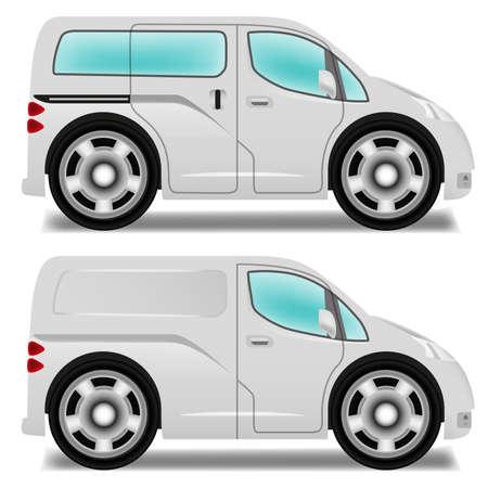 mpv: Cartoon minibus and delivery van with big wheels