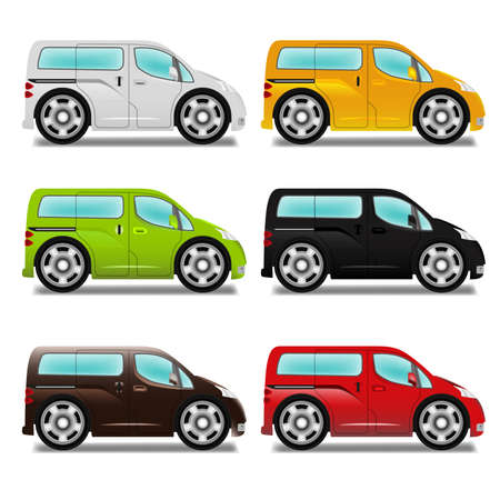 mpv: Cartoon minivan with big wheels, six different colors. Illustration