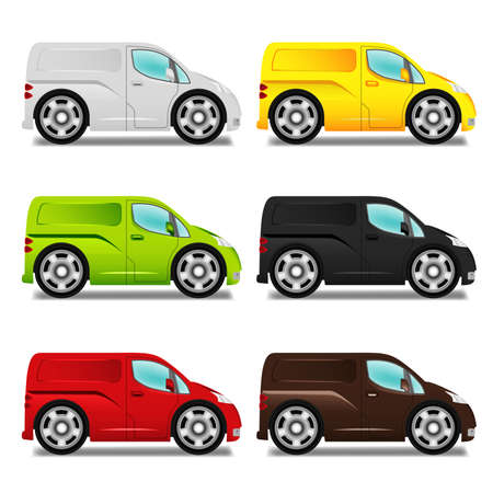 minivan: Cartoon delivery van with big wheels, six different colors.