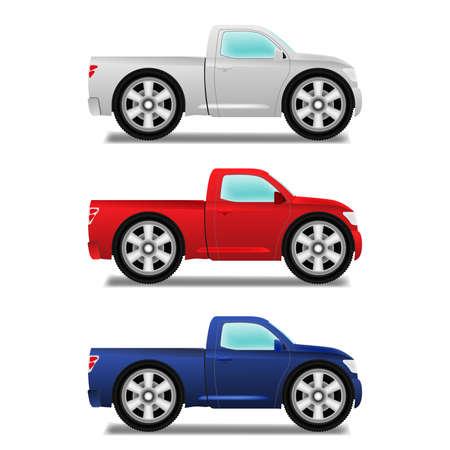 pickup truck: Cartoon puckup with big wheels