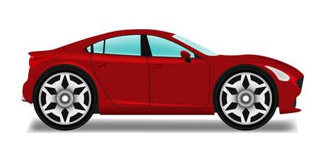 Cartoon sedan. Auto met grote wielen. Vector Illustratie