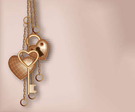 Heart shaped lock, key and ring  Vector