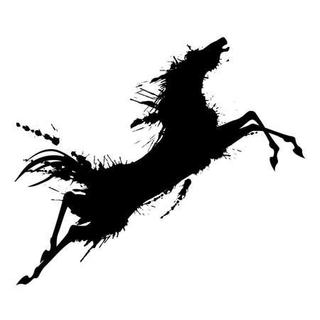 Grunge jumping horse silhouette Ilustração