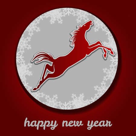 Jumping horse. Happy new year. Vector