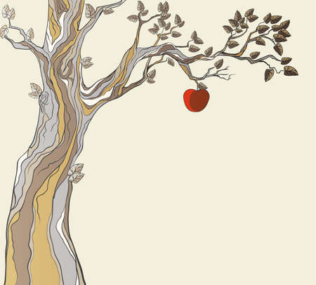 the tempter: Original sin. Tree with apple. Illustration