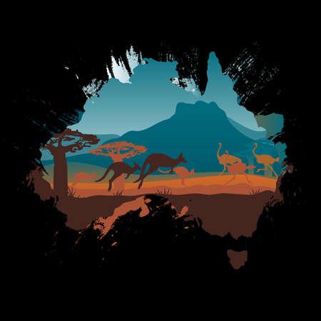 Grunge Australia travel design template Stock Vector - 22182536