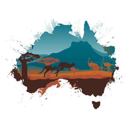 aussie: Grunge Australia travel design template Illustration