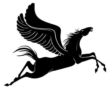 Winged horse. Pegasus silhouette