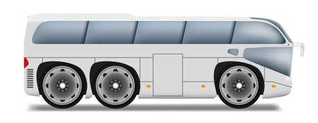 motor coach: Cartoon bus with big wheels