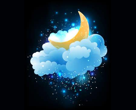 night sky: Mặt trăng, mây và sao. Giấc mơ ngọt ngào hình nền.