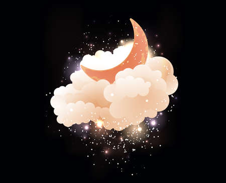 luna caricatura: La luna, las nubes y las estrellas. Fondos de escritorio dulces sue�os. Vectores