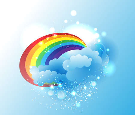 Cartoon clouds and rainbow Vector