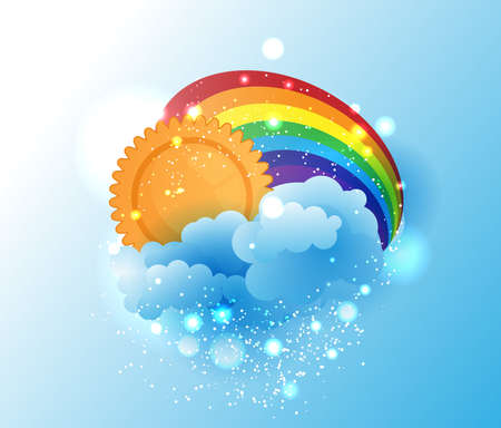 Cartoon sun, cloud and rainbow Vector