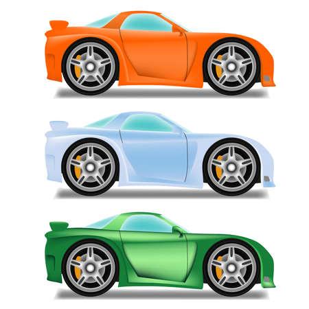 motorizado: Carrera de coches de dibujos animados con las ruedas grandes Vectores