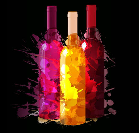 Group of wine bottles with grunge splashes  Red, rose and white  Illustration