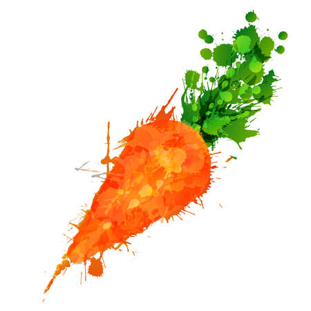 Carrot made of colorful splashes on white background