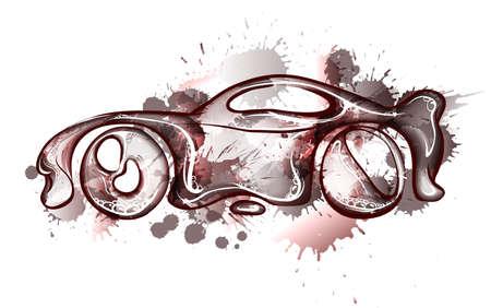 Watercolor concept car. Own design. Vector