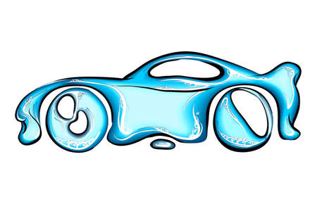 Car made of splashes. Car wash concept. Vector