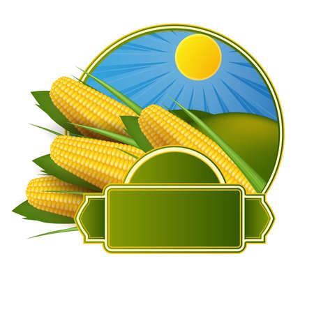 planta de maiz: Etiqueta de maíz Vectores
