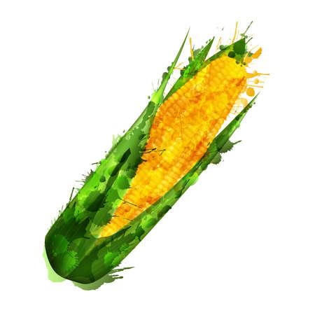 Corn cob  made of colorful splashes on white background  Ilustração