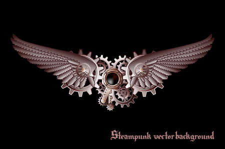 steampunk: Steampunk vings vector background