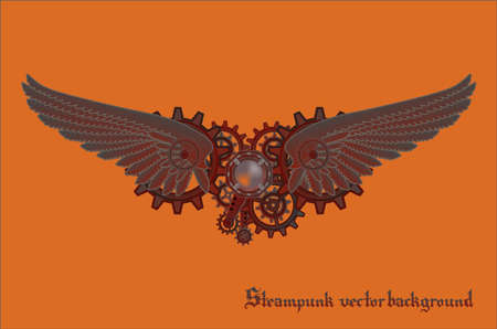 Steampunk vings vector background