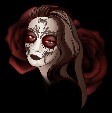 Girl in sugar skull make up Illustration