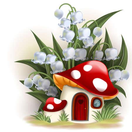 fairy story: Giglio della valle casa e funghi Vettoriali
