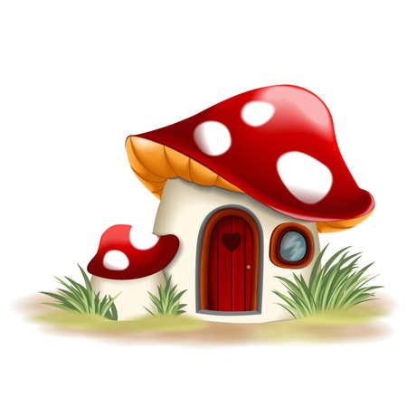 champignon magique: maison de champignon Fantasy Illustration