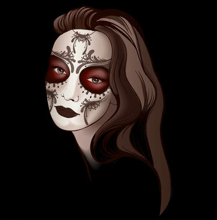 Girl in sugar skull make up Vector