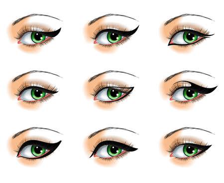 schöne augen: Neun verschiedene Eyeliner Set