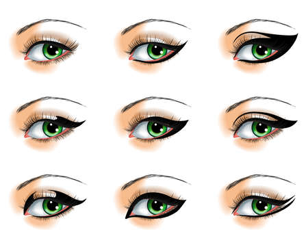 eyebrow makeup: Nine  different eyeliners set