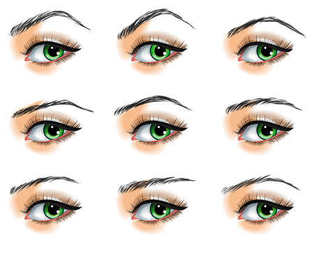 eyebrow: Nine  different eyebrows set