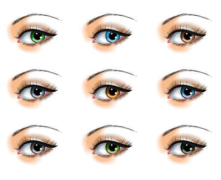 Negen verschillende oogkleuren ingesteld