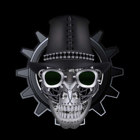 Steampunk skull wearing top hat Vector