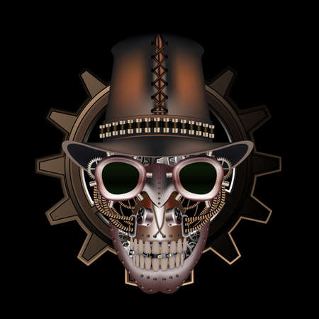 Steampunk skull wearing top hat Vector