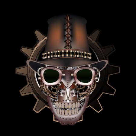 steampunk: Steampunk skull wearing top hat
