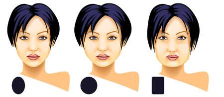 round face:  Woman face basic shapes set