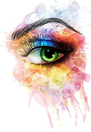 eye closeup: Eye made of colorful splashes