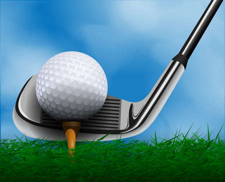 Golfbal en club voor gras