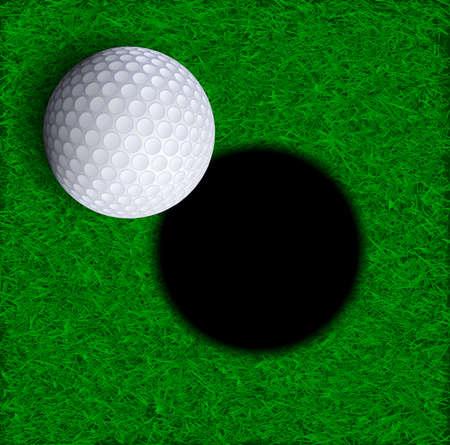 golf tee: Golf ball near hole