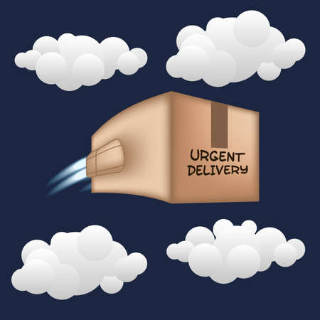 express delivery: Fast package delivery concept. Box with jet engine.