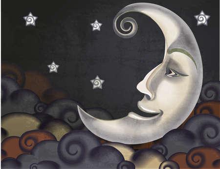 Media luna de estilo retro, las nubes y estrellas ilustración Ilustración de vector